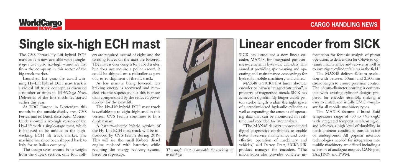 WorldCargo News - 0618 - Single six high ECH mast