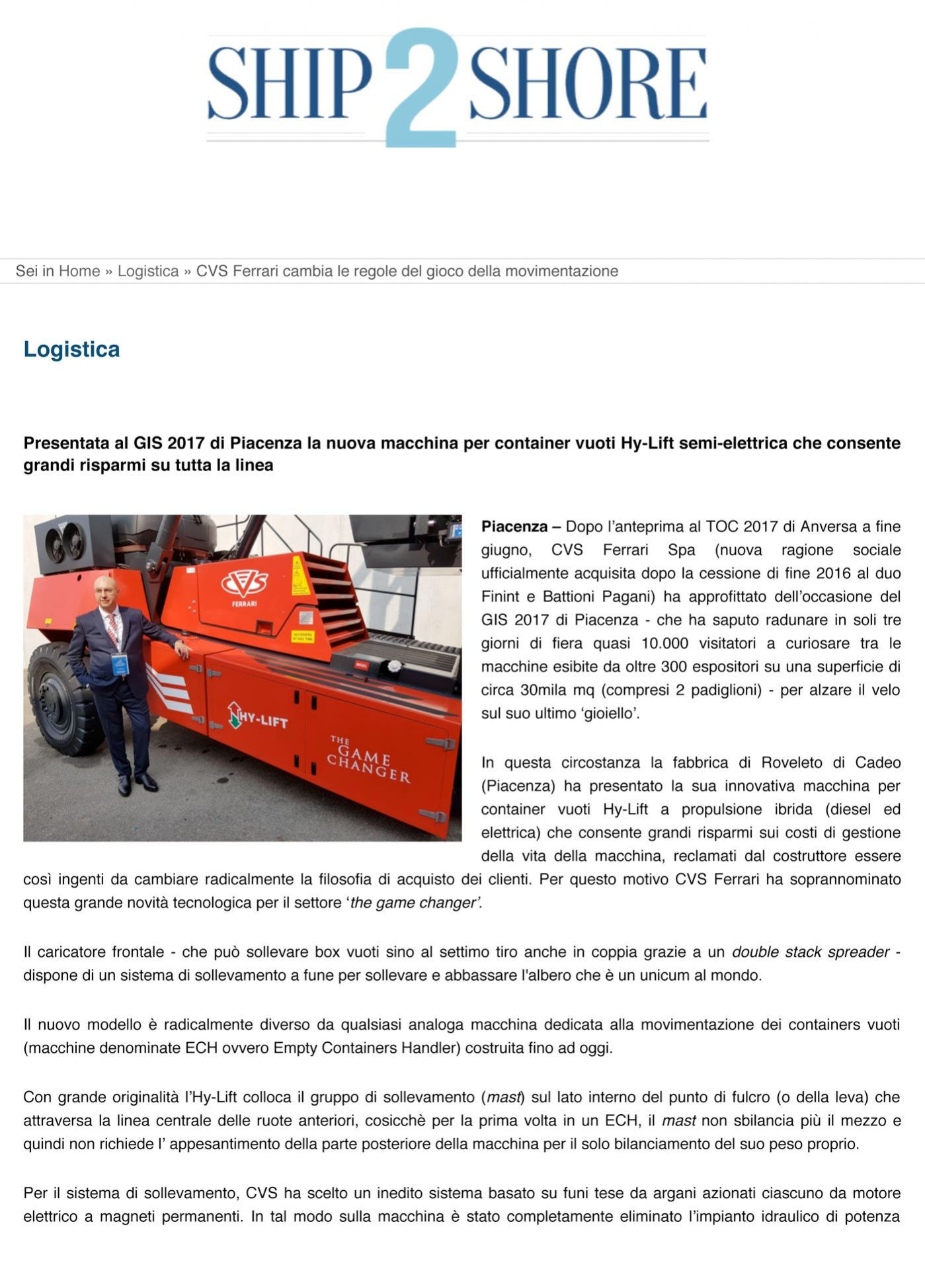 In the press - CVS ferrari - Ship2Shore - october 17