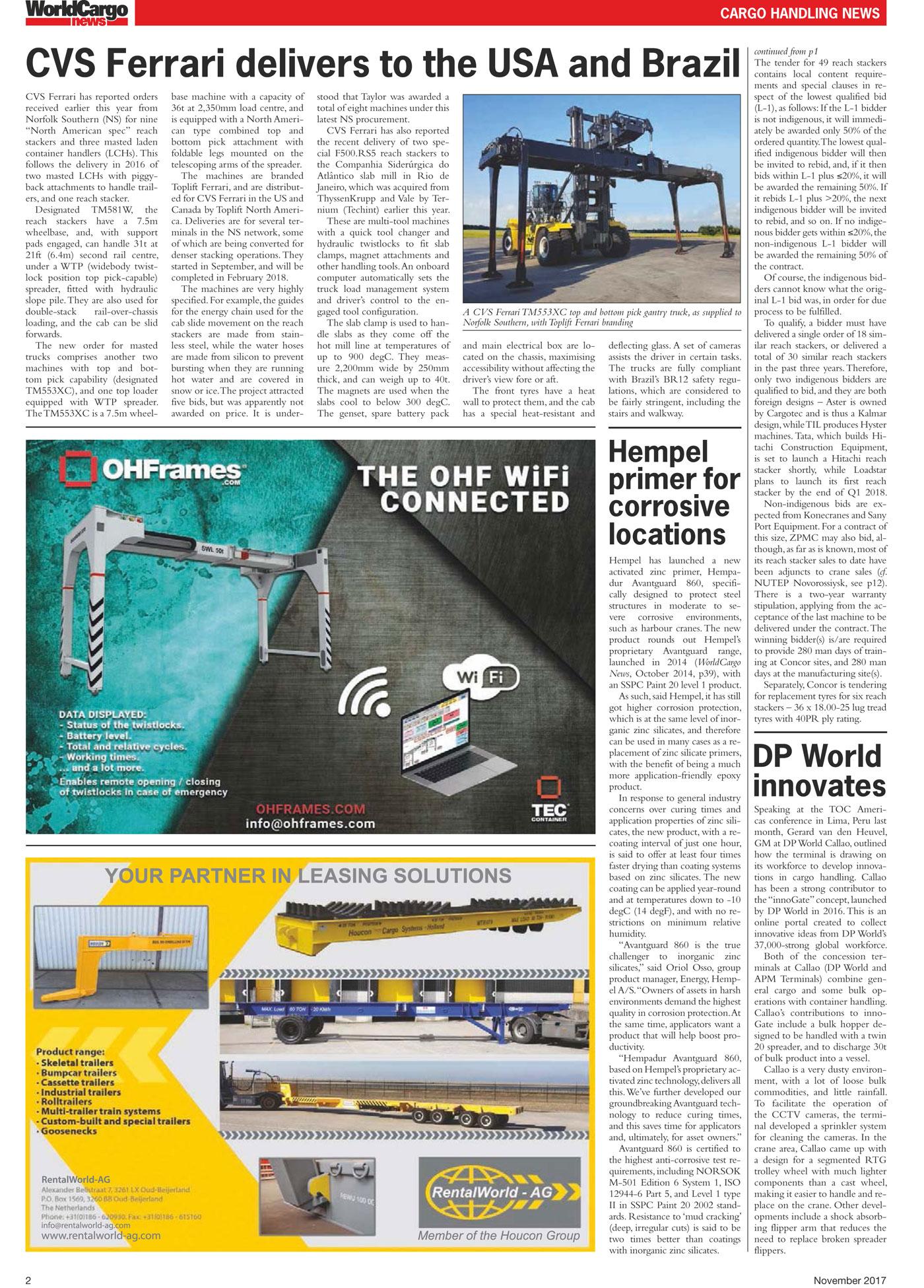 In the press - CVS ferrari worldcargonews november 2017