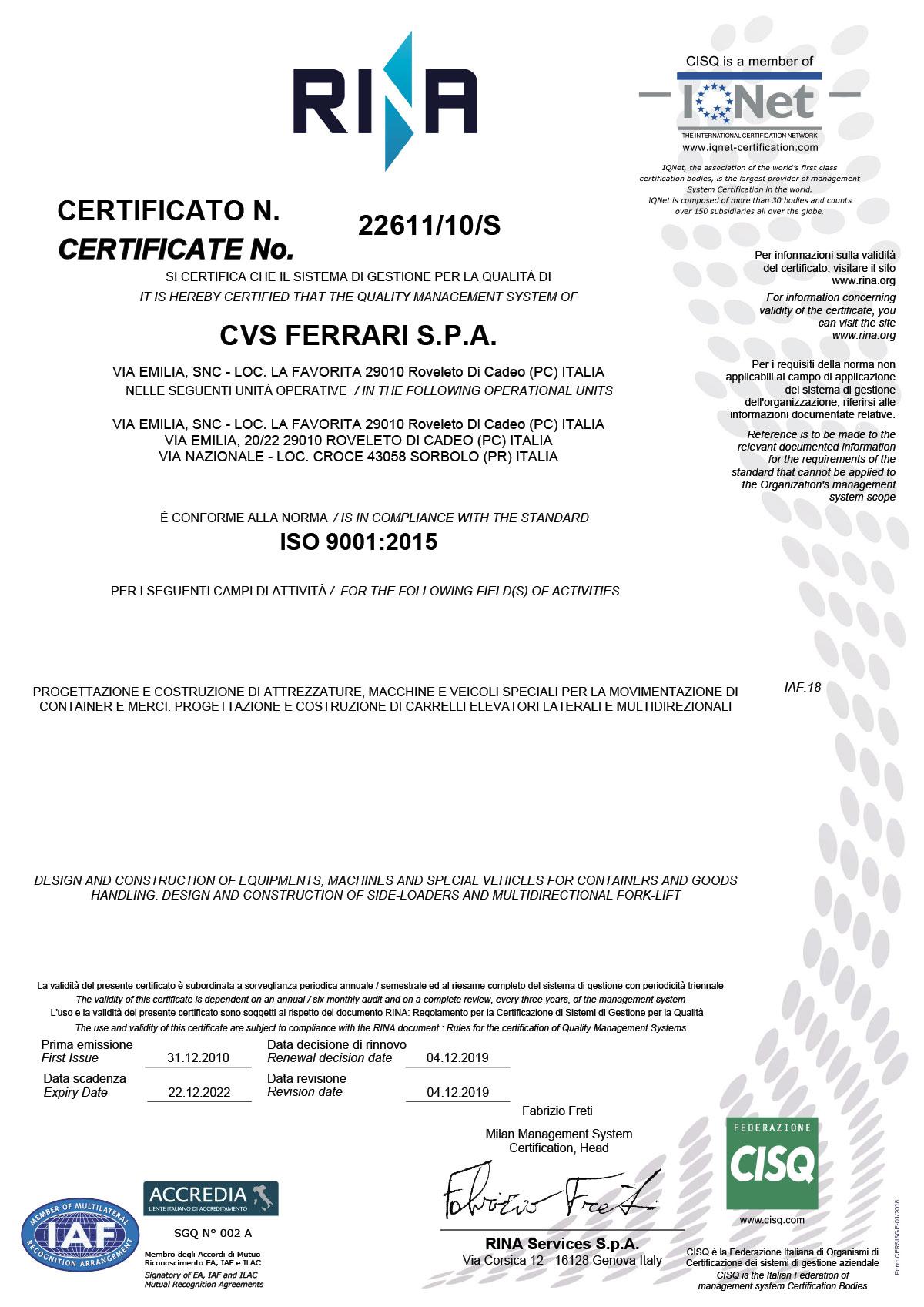 CVS FERRARI - iso-9001